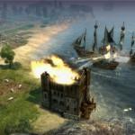 Eine Burg wird von See aus beschossen.