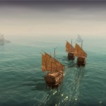 Drei orientalische Kriegschiffe auf Abfangkurs